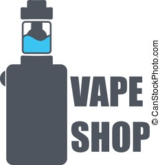 Logo or icon of an electronic cigarette with liquid inside.