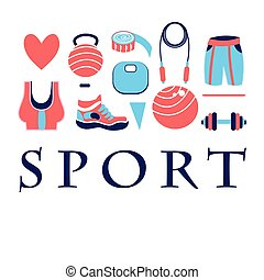 Different colored sports symbols on a white background
