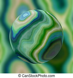 stony marble agate sphere pattern on blurred background -...