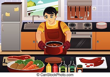 Man Cooking - A vector illustration of happy man cooking in...