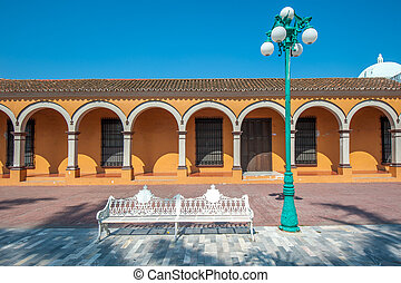 Streets of mexican colonial town Tlacotalpan, UNESCO World...