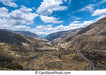 Scenic mountain road in the Andes, Peru