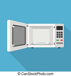 microwave oven with the door open