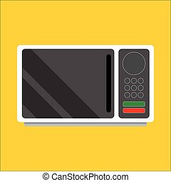 Modern microwave Front view Metal and glass Vector Image...
