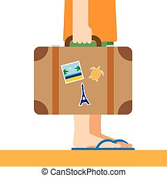 Briefcase with stickers in hand Traveller flat illustration