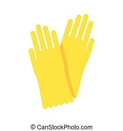 Yellow glove for hygiene cleaning and yellow rubber glove...
