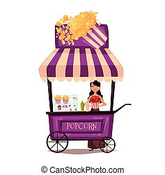 Selling popcorn on the street, comic cartoon vector...
