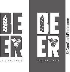 simple logo with the words Beer, vector illustration,...