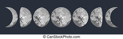 Moon phases vector illustration Grey marbled texture shape -...