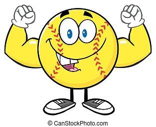 Happy Softball Flexing - Happy Softball Cartoon Mascot...