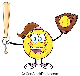 Happy Softball Girl Holding A Bat