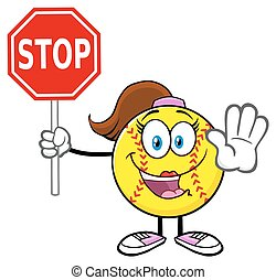Softball Girl Holding A Stop Sign