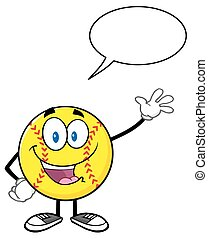 Happy Softball With Speech Bubble - Happy Softball Cartoon...