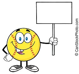 Funny Softball Holding A Blank Sign