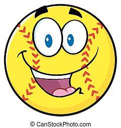 Happy Softball Cartoon Character