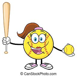 Cute Softball Girl Holding A Bat