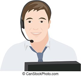 Profession receptionist man, isolated vector