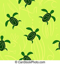 Vector seamless decorative pattern. Hand drawn turtle