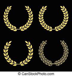 Vector set golden laurel wreaths design on black background
