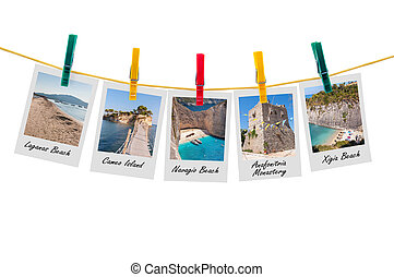 Five photos of Zakynthos on clothesline