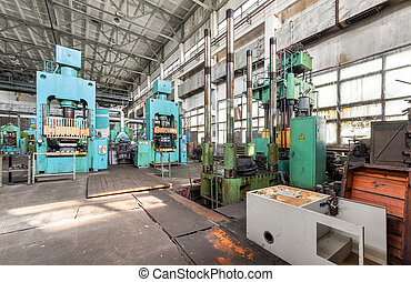 Machinery plant. Workshop for production of thermoplastic parts. Hydraulic presses
