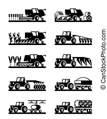 Agricultural machinery in the field - vector illustration