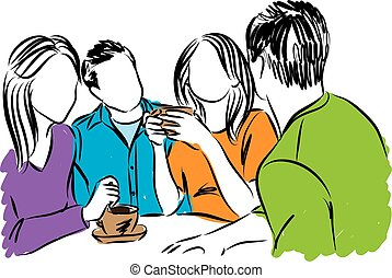 friends together coffee time illustration