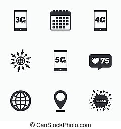 Mobile telecommunications icons 3G, 4G and 5G - Calendar,...