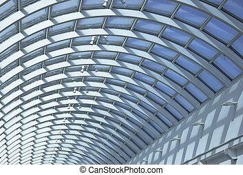 Detail of public interiors Ceiling light atrium through the...