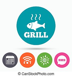 Fish grill hot icon Cook or fry fish symbol - Wifi, Sms and...