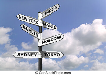 Business Capitals signpost - Signpost with the business...