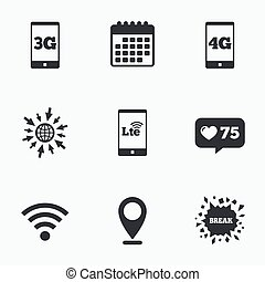 Mobile telecommunications icons 3G, 4G and LTE - Calendar,...