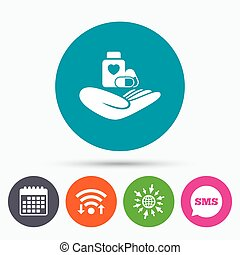 Medical insurance sign. Health insurance. - Wifi, Sms and...