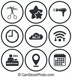 Hotel services icon Wi-fi, Hairdryer - Clock, wifi and stars...