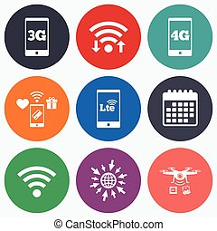 Mobile telecommunications icons 3G, 4G and LTE - Wifi,...