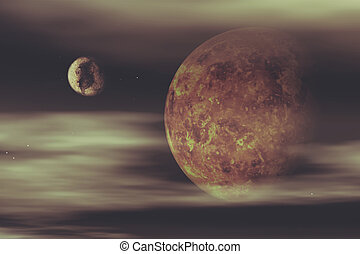3D space background with fictional planets - 3D render of a...