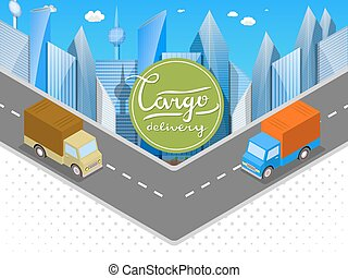 Delivery of goods in urban trucks Isometric cars, the city...