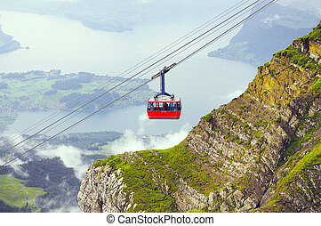 Cable car approach to the top of Pilatus mountain.
