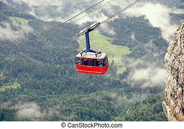 Cable car approach to the top of Pilatus mountain. - Cable...