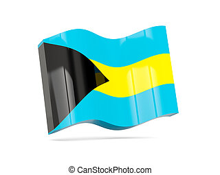Wave icon with flag of bahamas