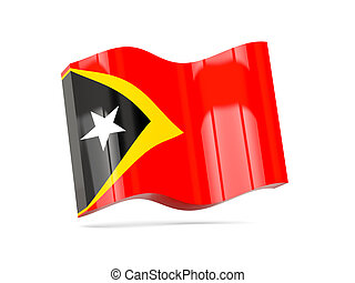 Wave icon with flag of east timor 3D illustration
