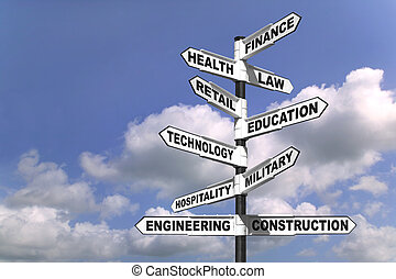 Ten career paths - Concept image of a signpost showing the...