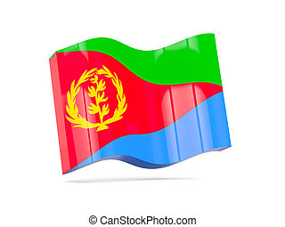 Wave icon with flag of eritrea 3D illustration