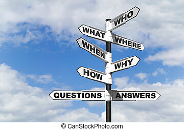 Questions and Answers signpost - Concept image of the six...