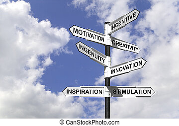 Motivational Signpost - Concept image of a signpost with...