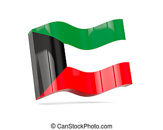 Wave icon with flag of kuwait 3D illustration