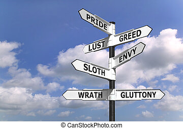 Seven dealdy sins signpost - Concept image of a signpost...