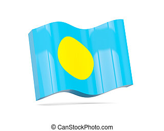 Wave icon with flag of palau 3D illustration