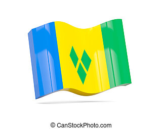 Wave icon with flag of saint vincent and the grenadines 3D...