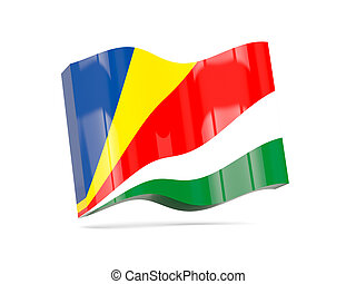 Wave icon with flag of seychelles 3D illustration